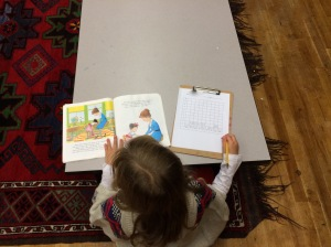 Graphing sight words from a favorite book